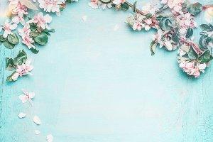 Spring blossom on blue, frame