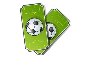 Two football cards. Soccer ball on playing field