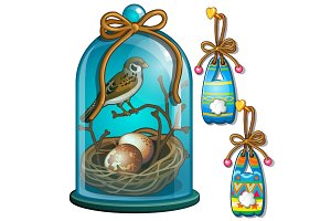 Sparrow with eggs under the dome and paper bunnies