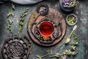 Herbal tea setting, vintage style