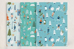 Winter xmas seamless patterns set