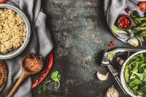 Healthy quinoa salad preparation