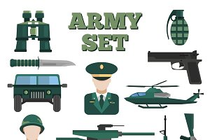 Flat Army Icon Set