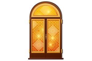 Orange door with Oriental ornament