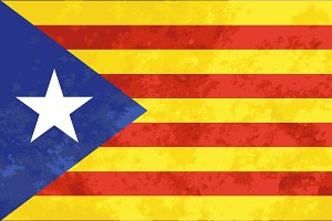 Bright Catalonia flag with texture