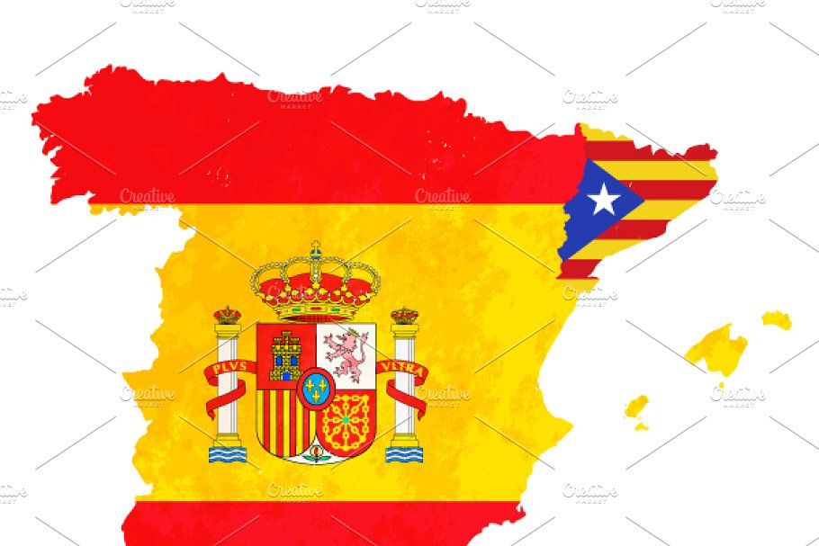 Map Of Spain And Catalonia.Catalonia Silhouette On Spain Map