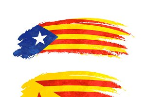 Brush stroke with Catalonia flag