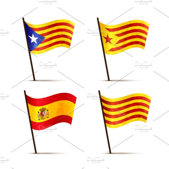 Set Of Catalonia And Spain Flags