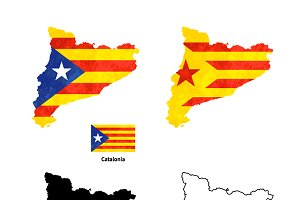 Catalonia silhouette with flag