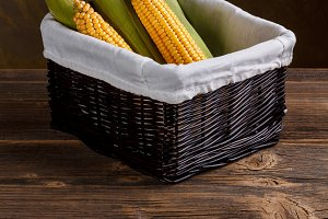 Corn cobs on basket