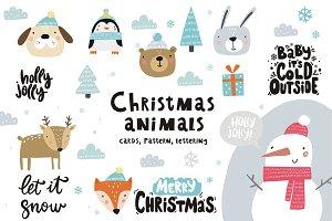 Christmas cartoon animals card