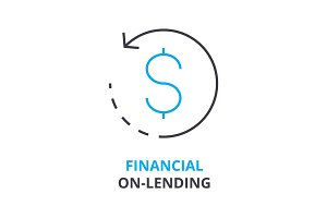 financial on-lending concept , outline icon, linear sign, thin line pictogram, logo, flat illustration, vector