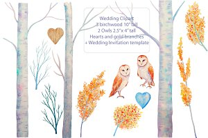 Wedding Watercolor Birchwood Owls