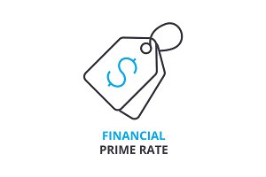 financial prime rate concept , outline icon, linear sign, thin line pictogram, logo, flat illustration, vector