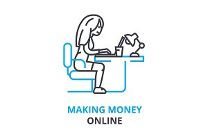 making money online concept , outline icon, linear sign, thin line pictogram, logo, flat illustration, vector
