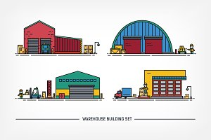 Set of warehouse buildings