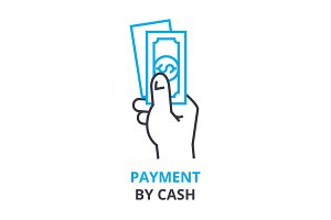 payment by cash concept , outline icon, linear sign, thin line pictogram, logo, flat illustration, vector