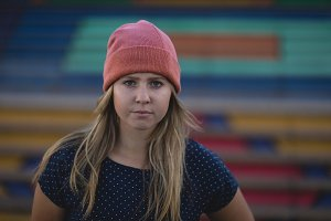 Portrait of woman wearing knit hat