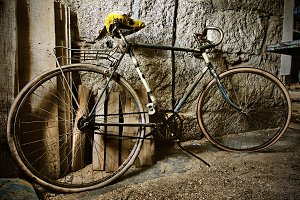 old bicycle in the garage