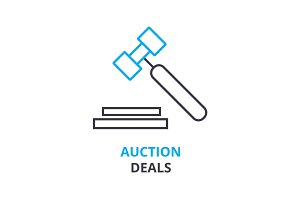 auction deals concept , outline icon, linear sign, thin line pictogram, logo, flat illustration, vector