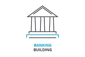banking building concept , outline icon, linear sign, thin line pictogram, logo, flat illustration, vector
