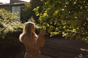 Young woman wearing warm clothing touching fruit tree