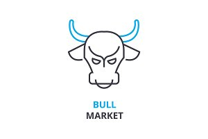 bull market concept , outline icon, linear sign, thin line pictogram, logo, flat illustration, vector