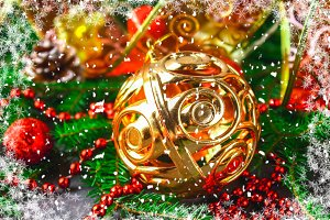 Christmas golden decorative ball surrounded by fir branches.