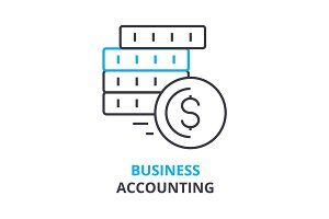 business accounting concept , outline icon, linear sign, thin line pictogram, logo, flat illustration, vector