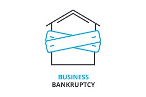 business bankruptcy concept , outline icon, linear sign, thin line pictogram, logo, flat illustration, vector