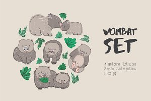 Set, seamless pattern of cute wombat