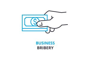 business bribery concept , outline icon, linear sign, thin line pictogram, logo, flat illustration, vector