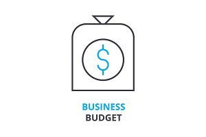business budget concept , outline icon, linear sign, thin line pictogram, logo, flat illustration, vector