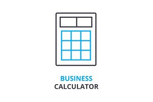business calculator concept , outline icon, linear sign, thin line pictogram, logo, flat illustration, vector
