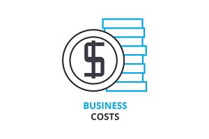 business costs concept , outline icon, linear sign, thin line pictogram, logo, flat illustration, vector