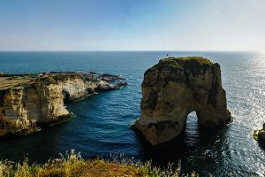 View Raouche or Pigeon Rock, Beirut, Lebanon