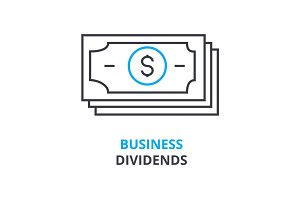 business dividends concept , outline icon, linear sign, thin line pictogram, logo, flat illustration, vector