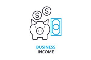 business income concept , outline icon, linear sign, thin line pictogram, logo, flat illustration, vector
