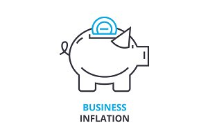 business inflation concept , outline icon, linear sign, thin line pictogram, logo, flat illustration, vector
