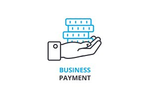 business payment concept , outline icon, linear sign, thin line pictogram, logo, flat illustration, vector
