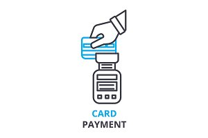 card payment concept , outline icon, linear sign, thin line pictogram, logo, flat illustration, vector