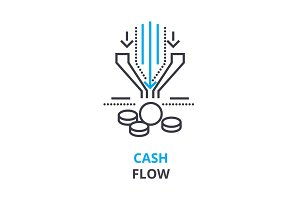 cash flow concept , outline icon, linear sign, thin line pictogram, logo, flat illustration, vector
