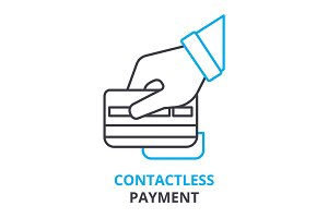 contactless payment concept , outline icon, linear sign, thin line pictogram, logo, flat illustration, vector