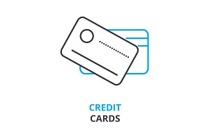 credit cards concept , outline icon, linear sign, thin line pictogram, logo, flat illustration, vector