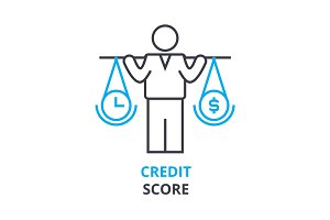 credit score concept , outline icon, linear sign, thin line pictogram, logo, flat illustration, vector