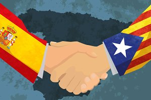 Catalonia and Spain handshake