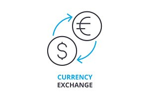 currency exchange concept , outline icon, linear sign, thin line pictogram, logo, flat illustration, vector