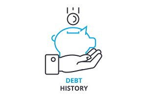 debt history concept , outline icon, linear sign, thin line pictogram, logo, flat illustration, vector