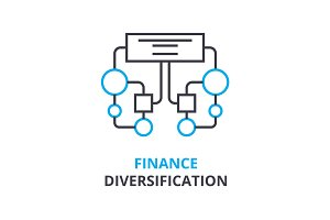 finance diversification concept , outline icon, linear sign, thin line pictogram, logo, flat illustration, vector
