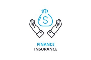 finance insurance concept , outline icon, linear sign, thin line pictogram, logo, flat illustration, vector